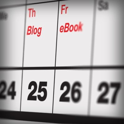 content calendar: on Thursday a blog post and on Friday an eBook