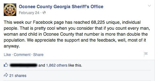 oconee sheriff's office has lots of followers