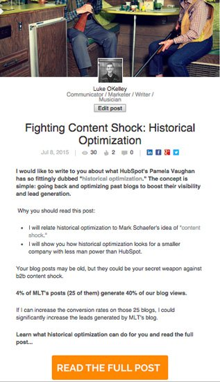 Fighting Content Shock With Historical Optimization