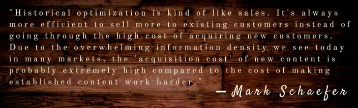 Mark Schaefer historical optimization quote