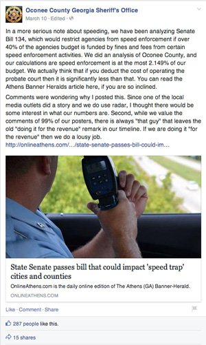 Oconee County speeding ticket facebook post