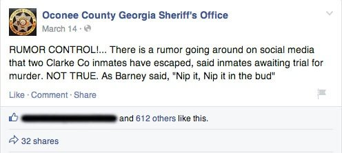 Oconee county crime rumor facebook post