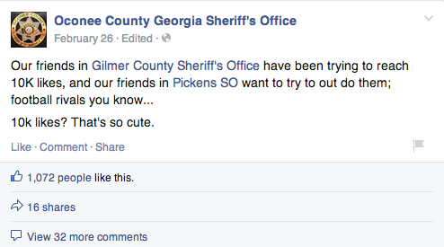 Gilmer County sheriff facebook post