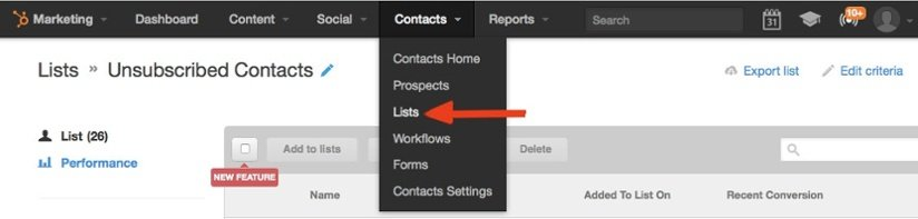 HubSpot Contacts dropdown