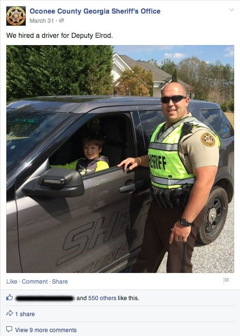 Oconee cop and child