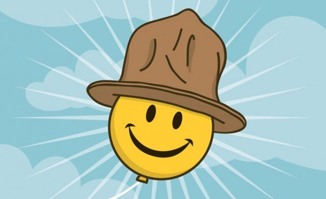 happy face with pharrel hat