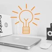 Mac Computer with lightbulb