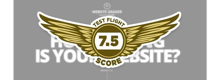 HubSpot Website Grader - Test Flight Score 7.5