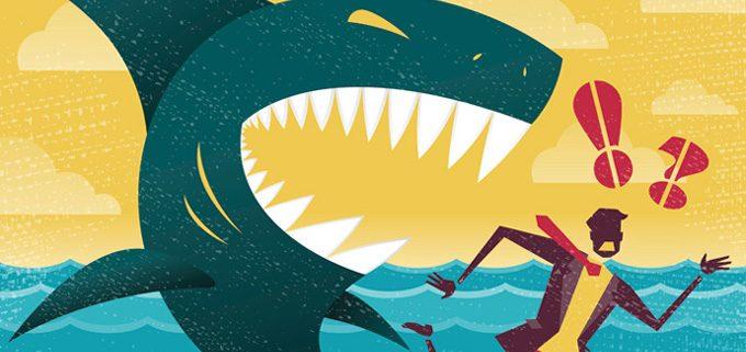 A shark attacking a b2b marketer.