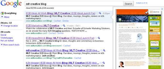 Google Instant Preview will be a boon for B2B marketers who have a good looking website