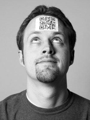 QR code on a b2b marketer's head