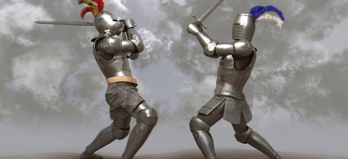Sales and marketing knights fighting the lead nurturing battle.