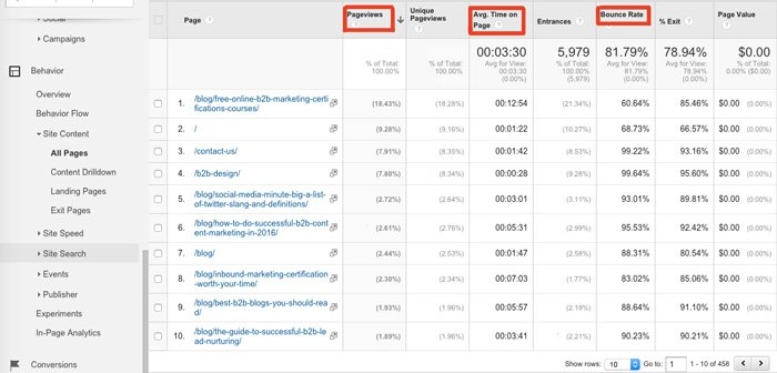 Google Analytics Behavior > Site Content > All Pages Report