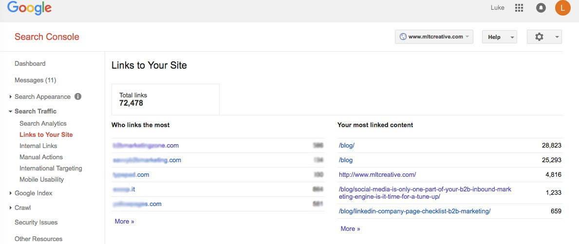 Google Search Console > Search Traffic > Links to Your Site
