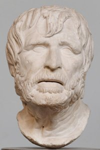 A sculpted bust of the Greek economist Hesiod