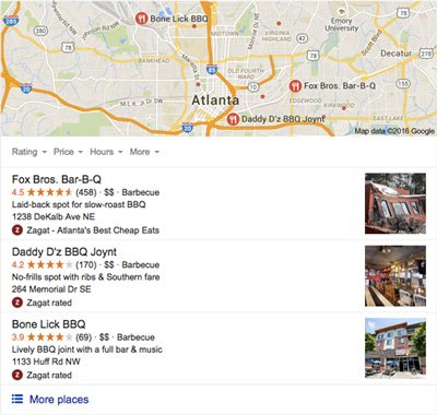 "A screenshot of local search results for ""Atlanta barbecue"""