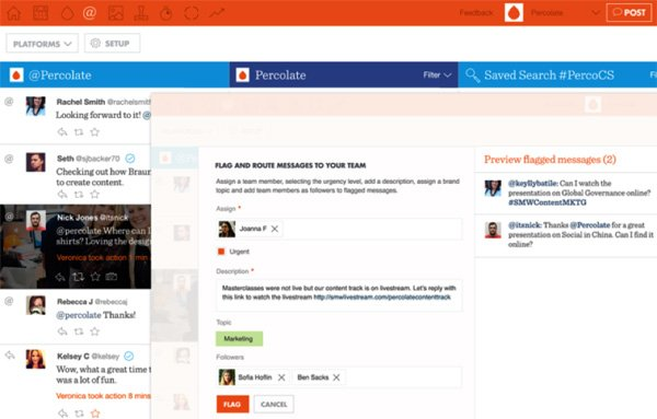 Percolate social media management tool screenshot