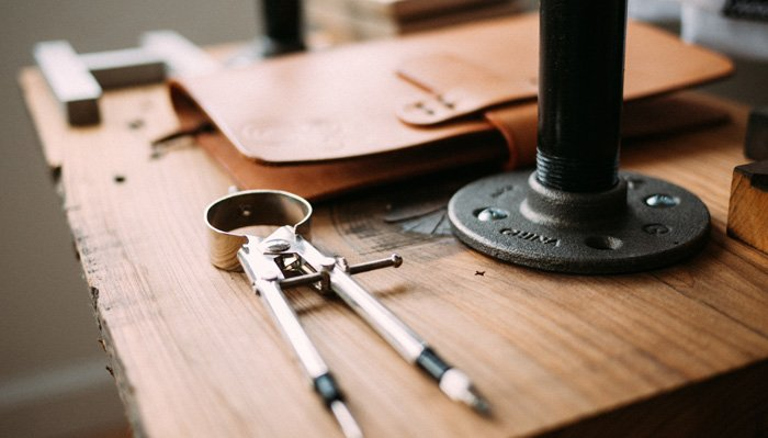 A desk with tools representing google marketing tools